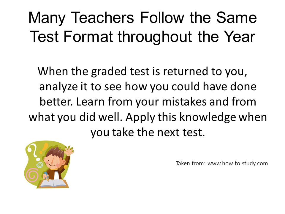 Many Teachers Follow the Same Test Format throughout the Year