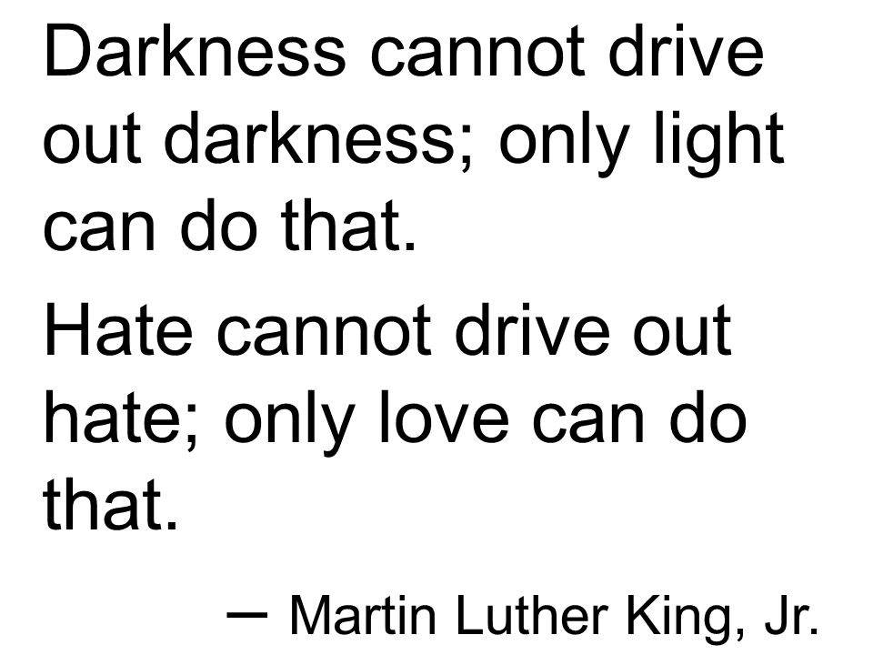 Hate cannot drive out hate; only love can do that.