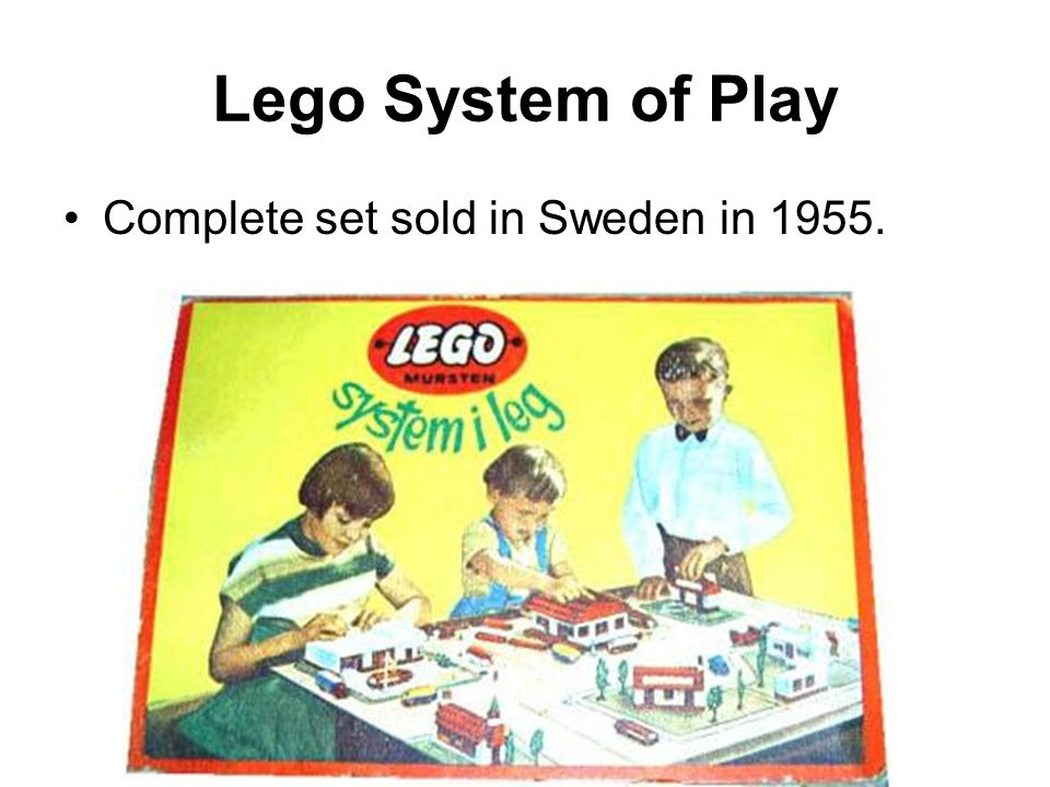 Lego System of Play Complete set sold in Sweden in 1955.