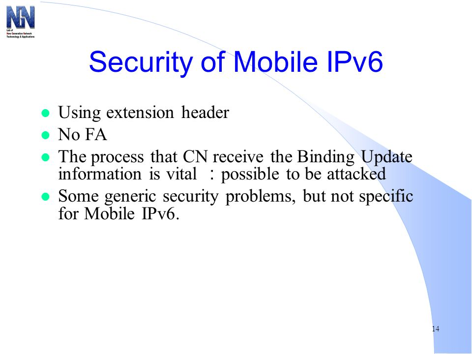 Security of Mobile IPv6 Using extension header No FA
