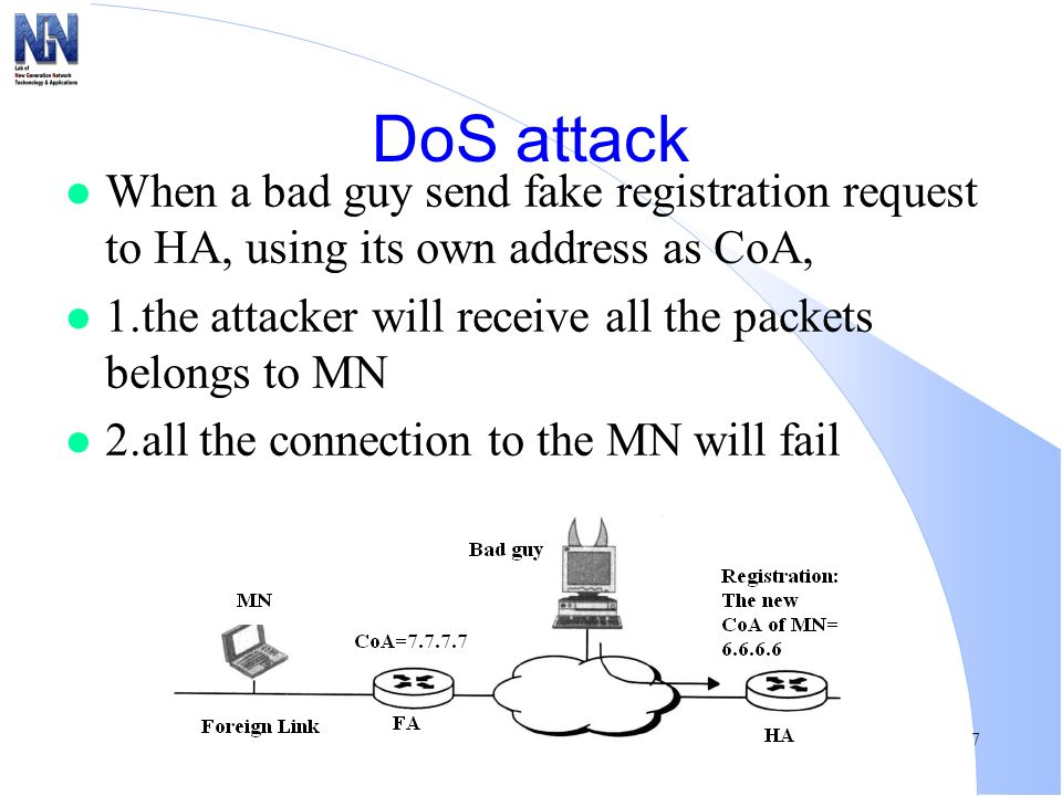 DoS attack When a bad guy send fake registration request to HA, using its own address as CoA,
