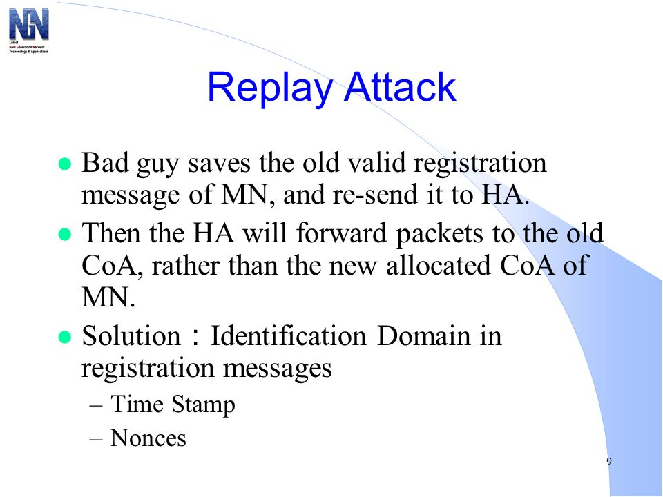 Replay Attack Bad guy saves the old valid registration message of MN, and re-send it to HA.