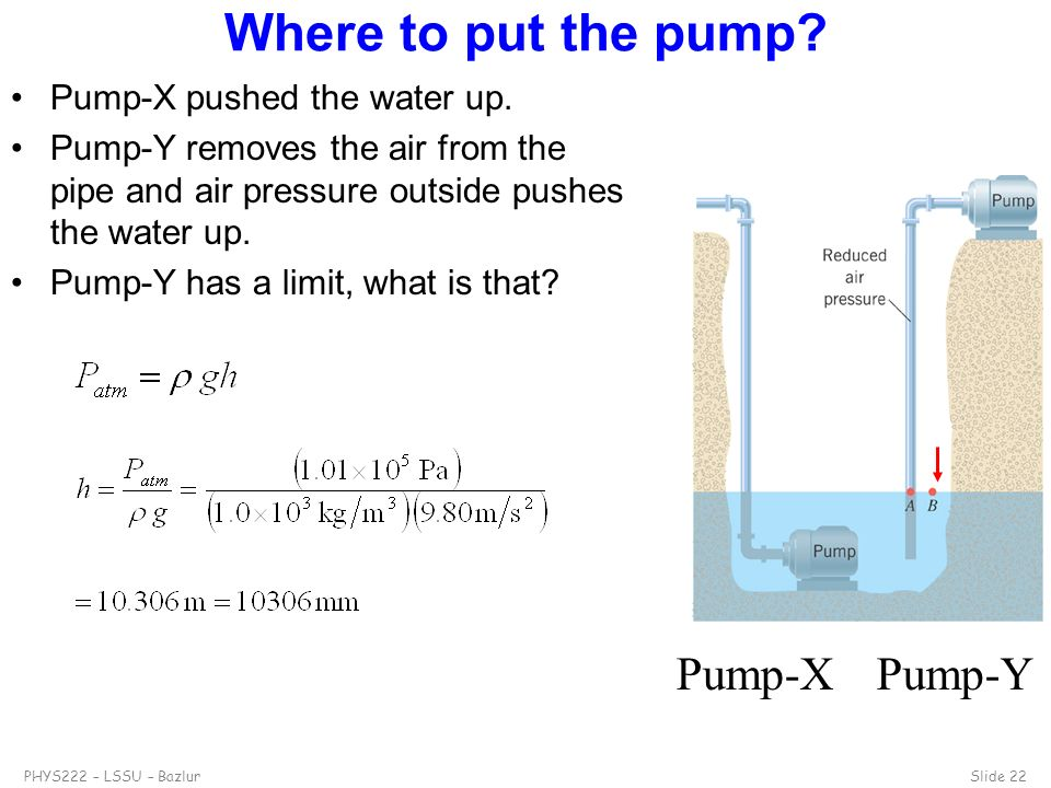 Where to put the pump Pump-X Pump-Y Pump-X pushed the water up.