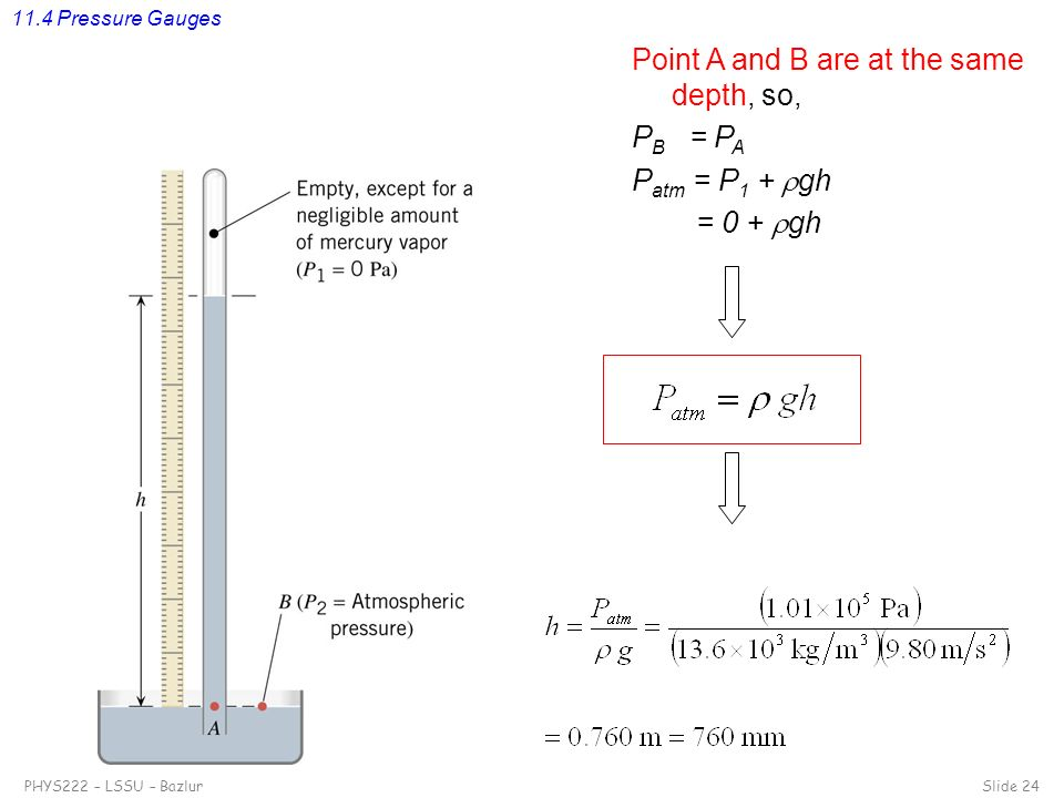 Point A and B are at the same depth, so, PB = PA Patm = P1 + gh
