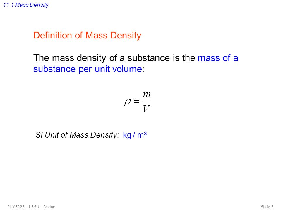 Definition of Mass Density