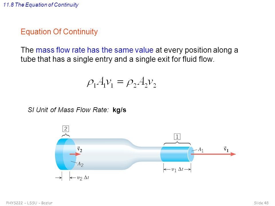 11.8 The Equation of Continuity