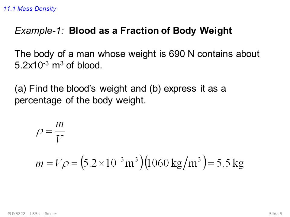 Example-1: Blood as a Fraction of Body Weight