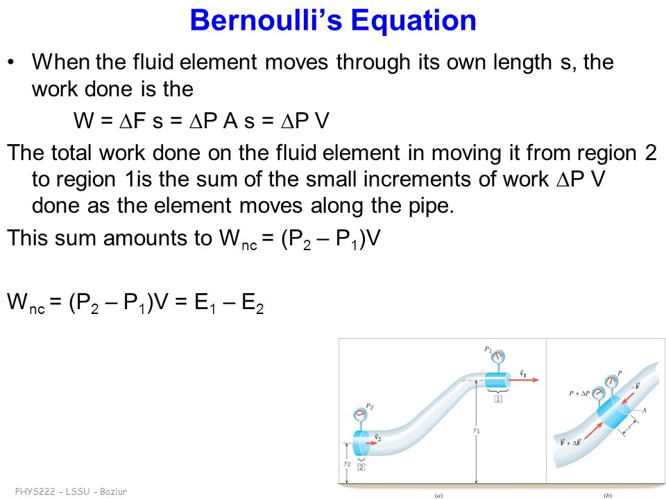 Bernoulli's Equation When the fluid element moves through its own length s, the work done is the. W = F s = P A s = P V.