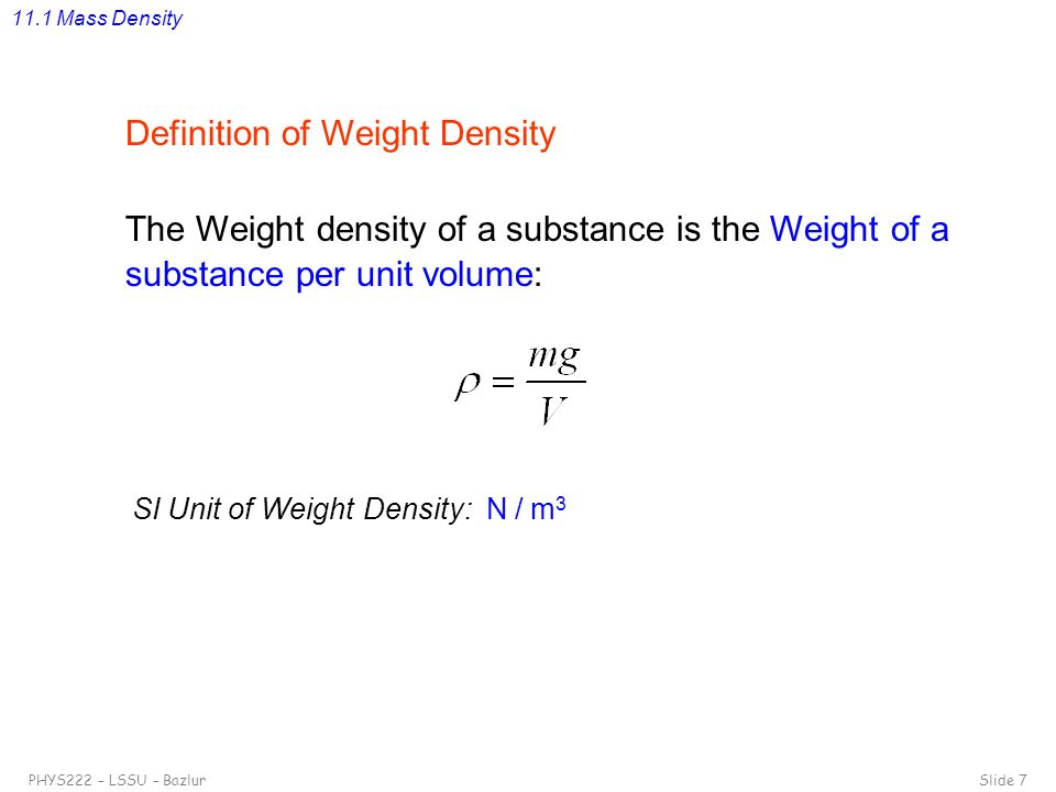 Definition of Weight Density