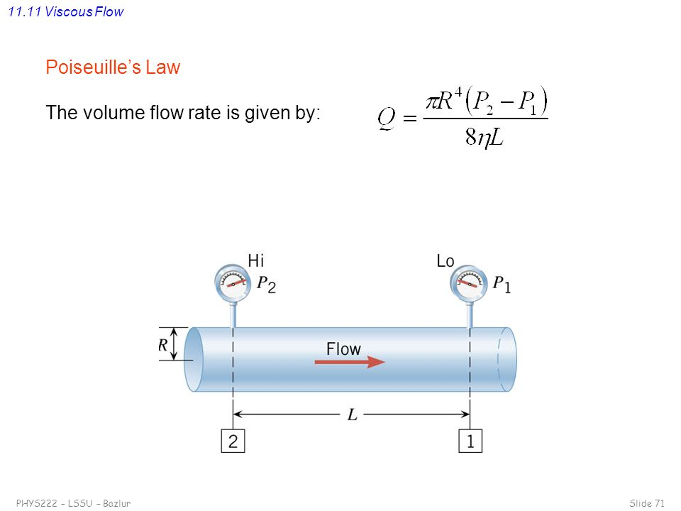 The volume flow rate is given by: