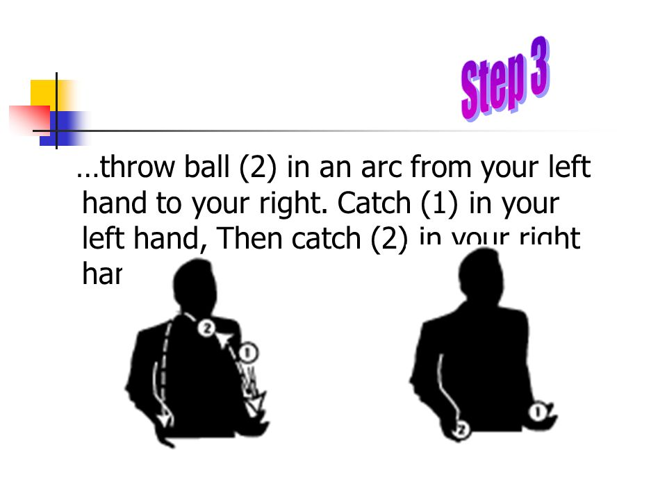 Step 3 …throw ball (2) in an arc from your left hand to your right.