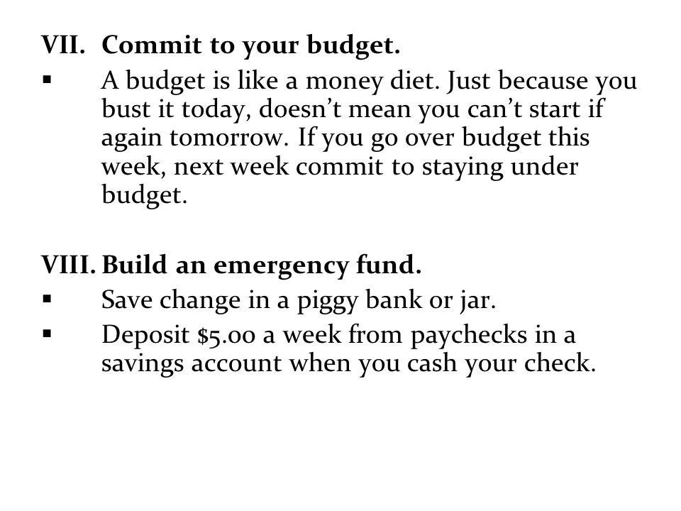 Commit to your budget.