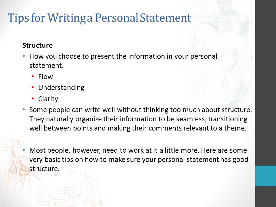 Write my how to present a personal statement