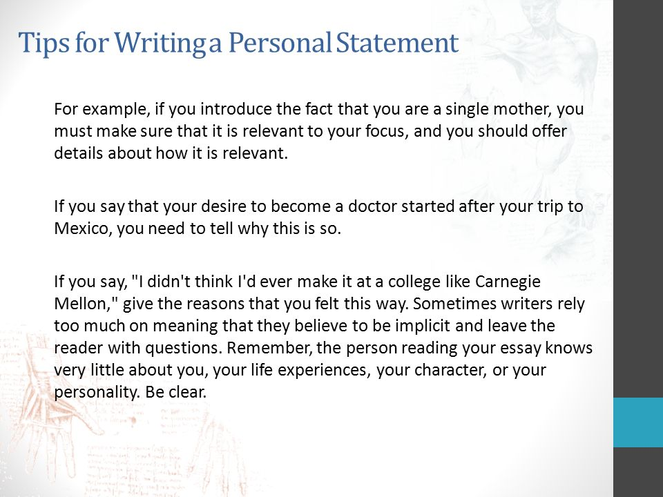 Personal statement writers tips