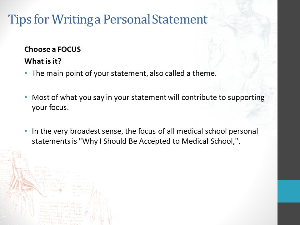 tips for writing a good personal statement for medical school