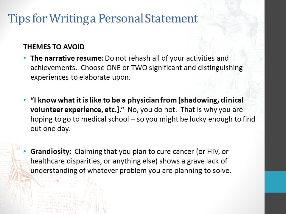 tips for writing a medical personal statement 1 | psychology advising office, science building, ld123,psyadv@iupuiedu  guide to writing a personal statement  note: request an electronic copy by emailing.