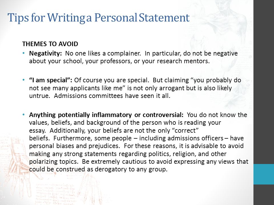 tips writing personal statement residency Learn more about our advice for residency and fellowship personal statements services tips for personal statements for medical residency overview while the following guidelines are intended specifically for writing personal statements for medical residency and.