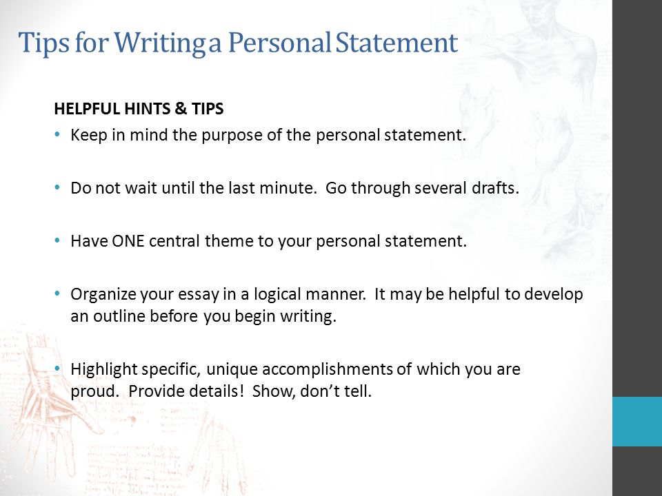 tips on writing a personal statement for college