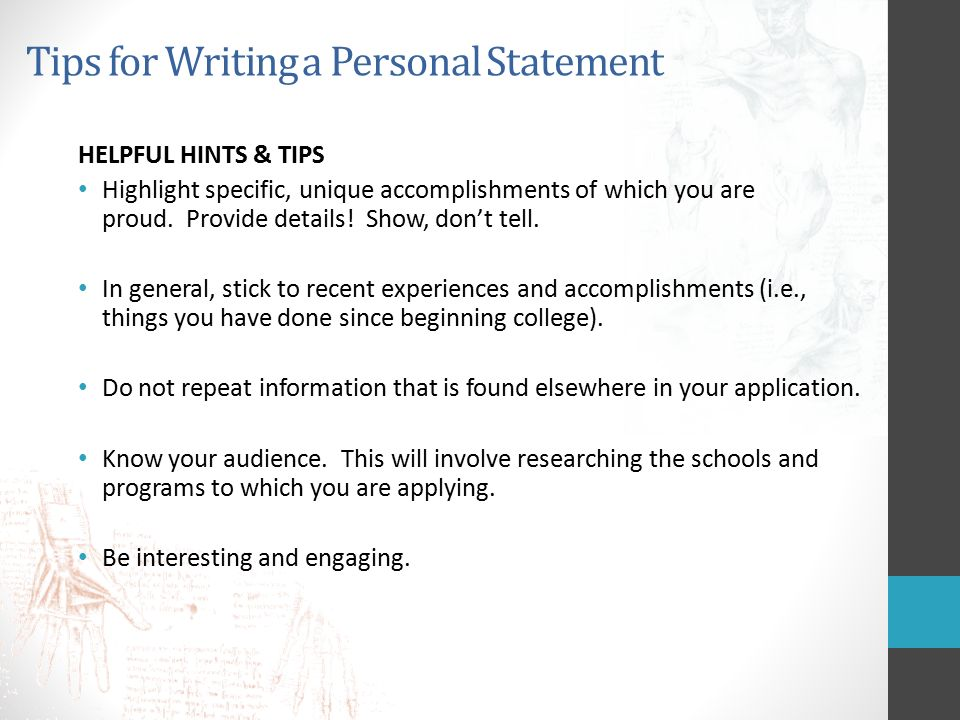 tips for writing a personal statement What's your story writing the personal statement taking the june lsat or maybe you are planning on taking the october lsat of course, the first priority is.