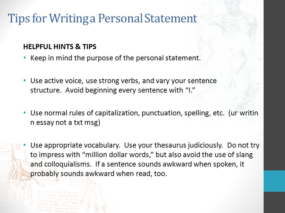 personal statements for university