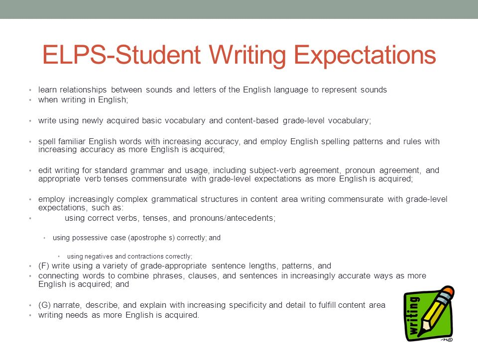grade level content expectations writing a cover