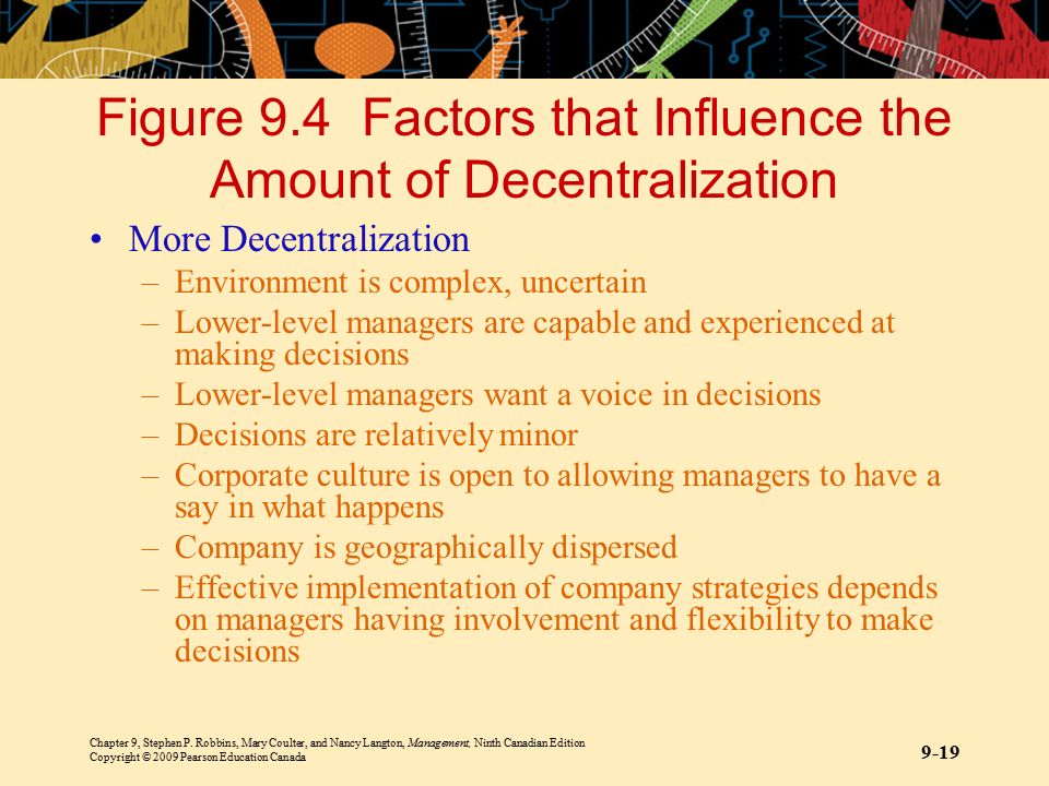 Figure 9.4 Factors that Influence the Amount of Decentralization