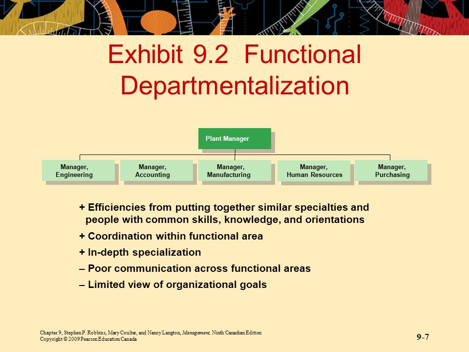 Exhibit 9.2 Functional Departmentalization