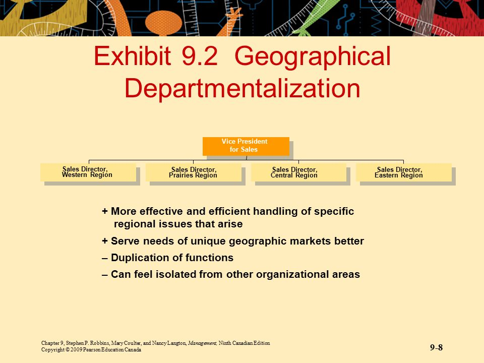 Exhibit 9.2 Geographical Departmentalization