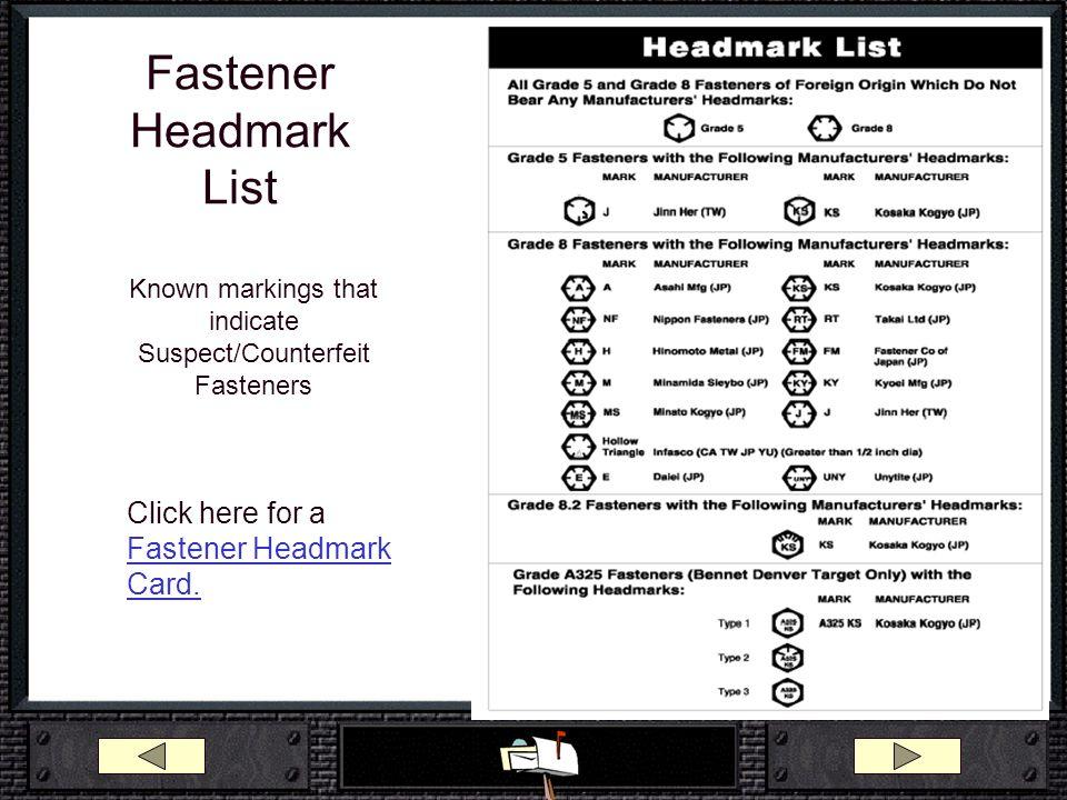 Fastener Headmark List