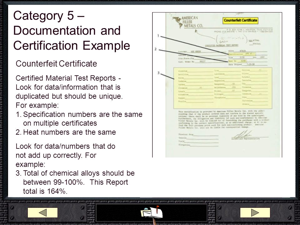 Category 5 –Documentation and Certification Example