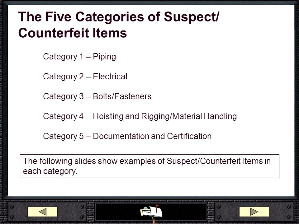 The Five Categories of Suspect/ Counterfeit Items