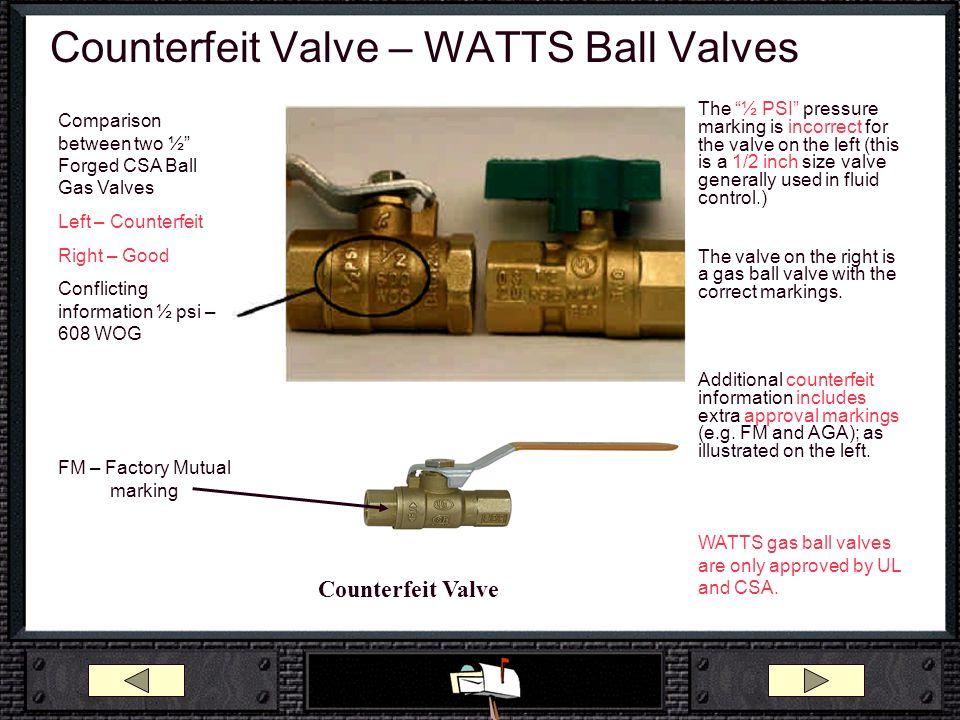 Counterfeit Valve – WATTS Ball Valves