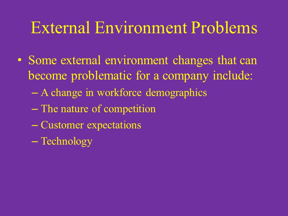 how to overcome external environment problems This free ebook explains how to analyze the external factors used in a swot analysis - download it now for your pc, laptop, tablet, kindle or smartphone these opportunities for growth can also occur from a resolution of a problem associated with your current product for example, skoda's market share rose.