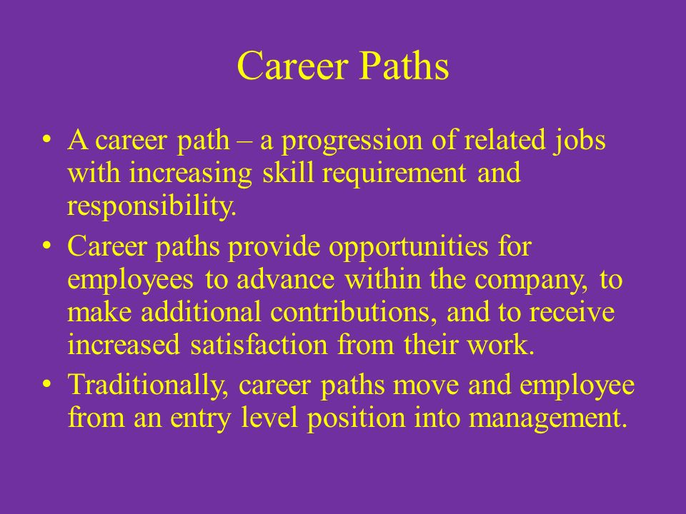 Current responsibilities and career path