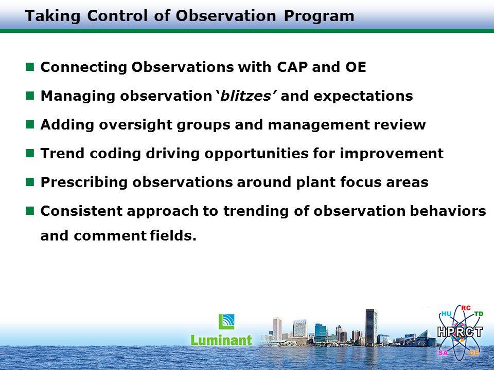 Taking Control of Observation Program