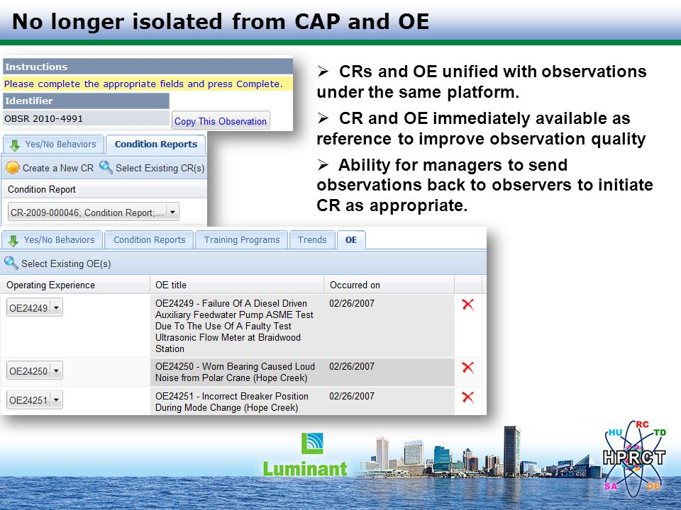 No longer isolated from CAP and OE
