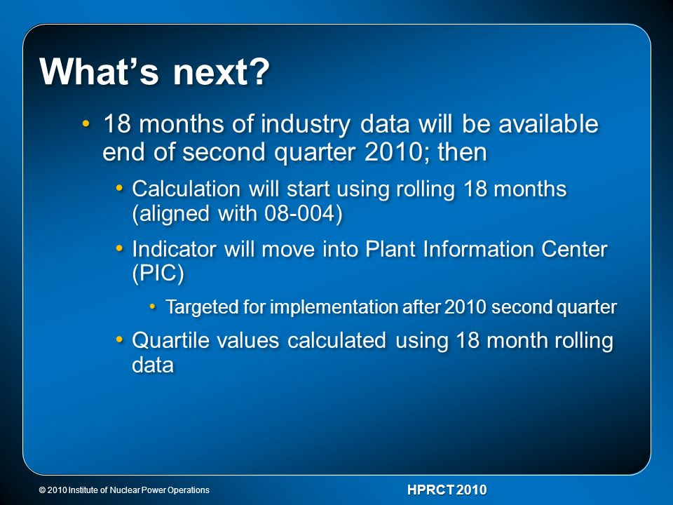 What's next 18 months of industry data will be available end of second quarter 2010; then.