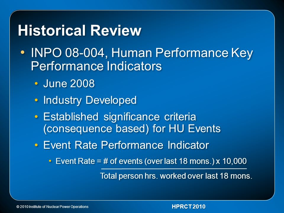 Historical Review INPO 08-004, Human Performance Key Performance Indicators. June 2008. Industry Developed.