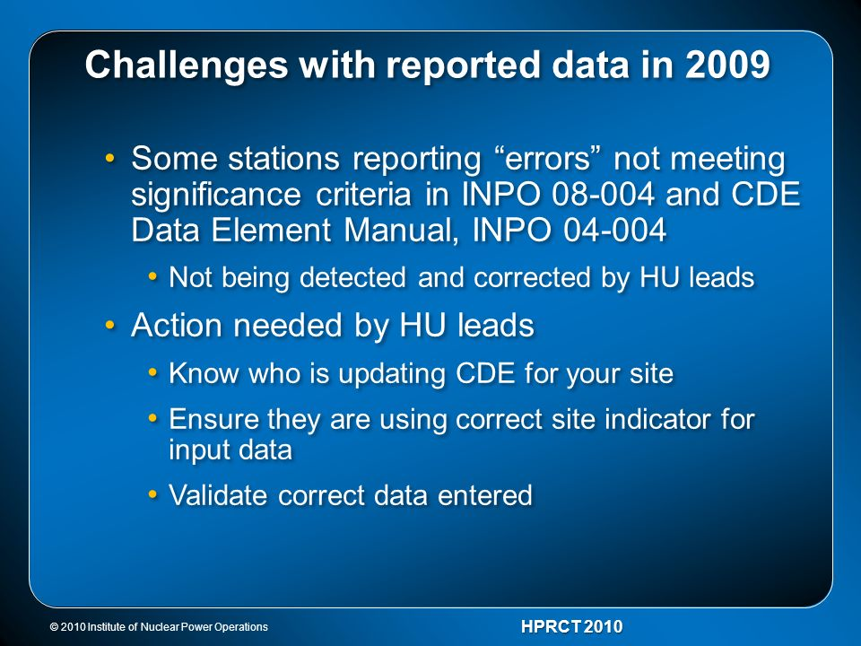 Challenges with reported data in 2009