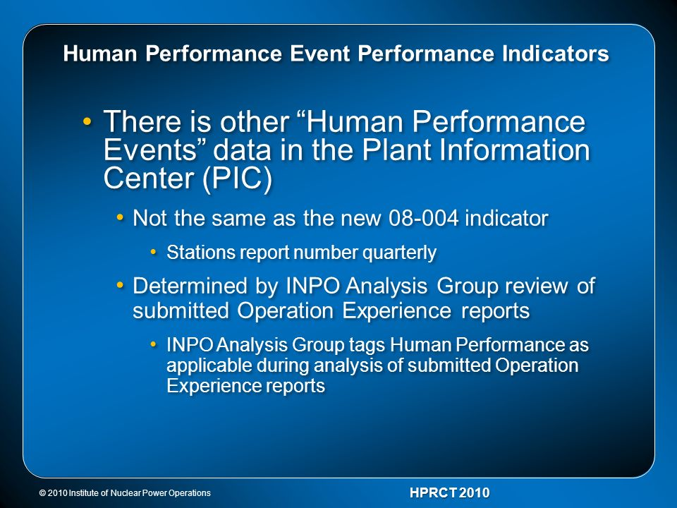 Human Performance Event Performance Indicators