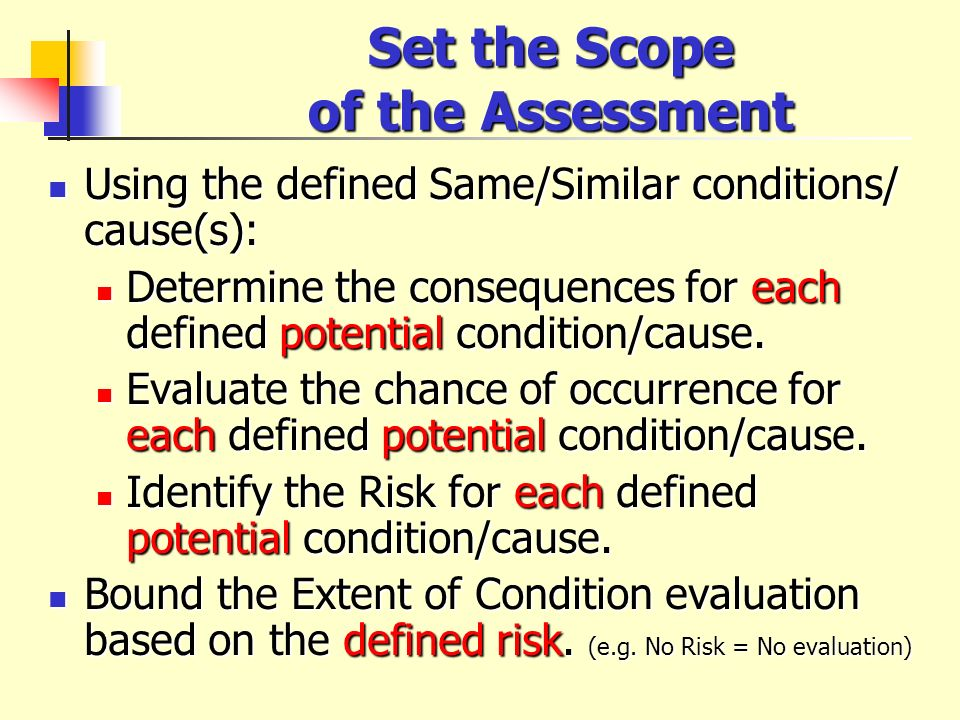 Set the Scope of the Assessment