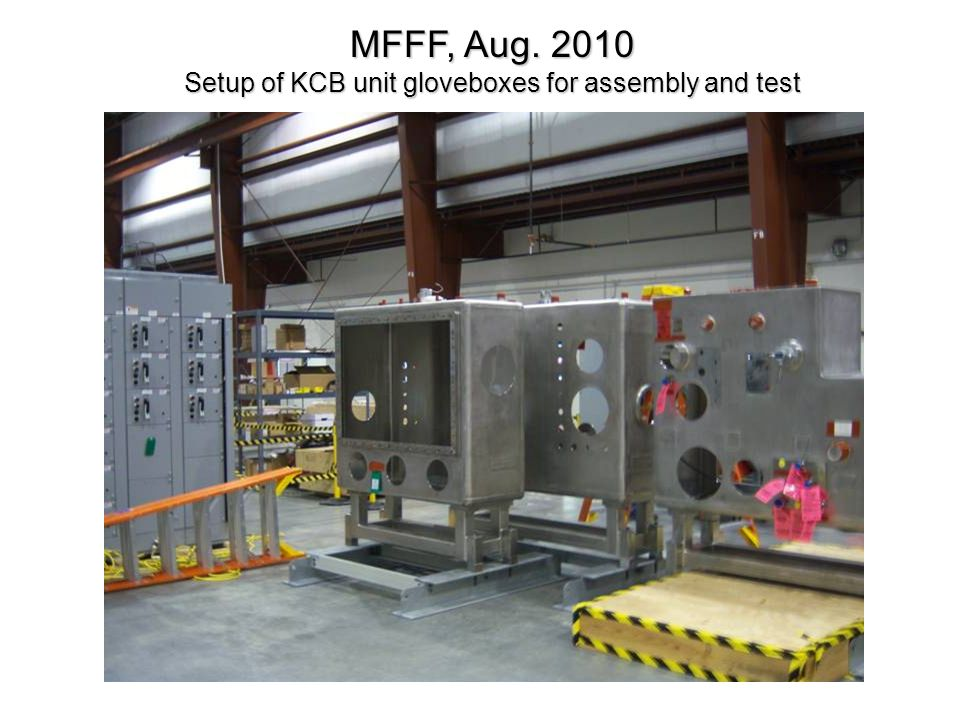 Setup of KCB unit gloveboxes for assembly and test