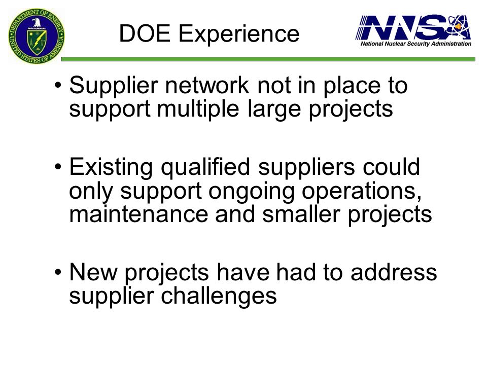 Supplier network not in place to support multiple large projects