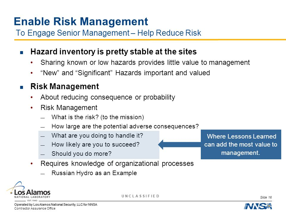 Enable Risk Management To Engage Senior Management – Help Reduce Risk