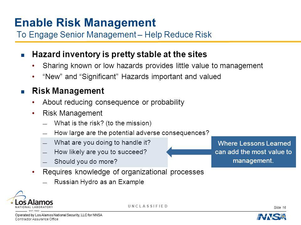 Enable Risk Management To Engage Senior Management – Help Reduce Risk