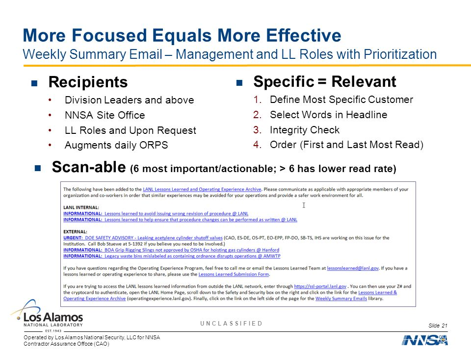 More Focused Equals More Effective Weekly Summary  – Management and LL Roles with Prioritization