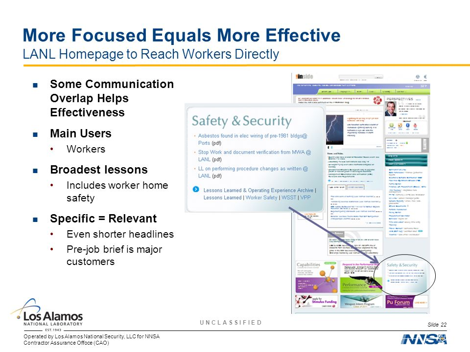 More Focused Equals More Effective LANL Homepage to Reach Workers Directly