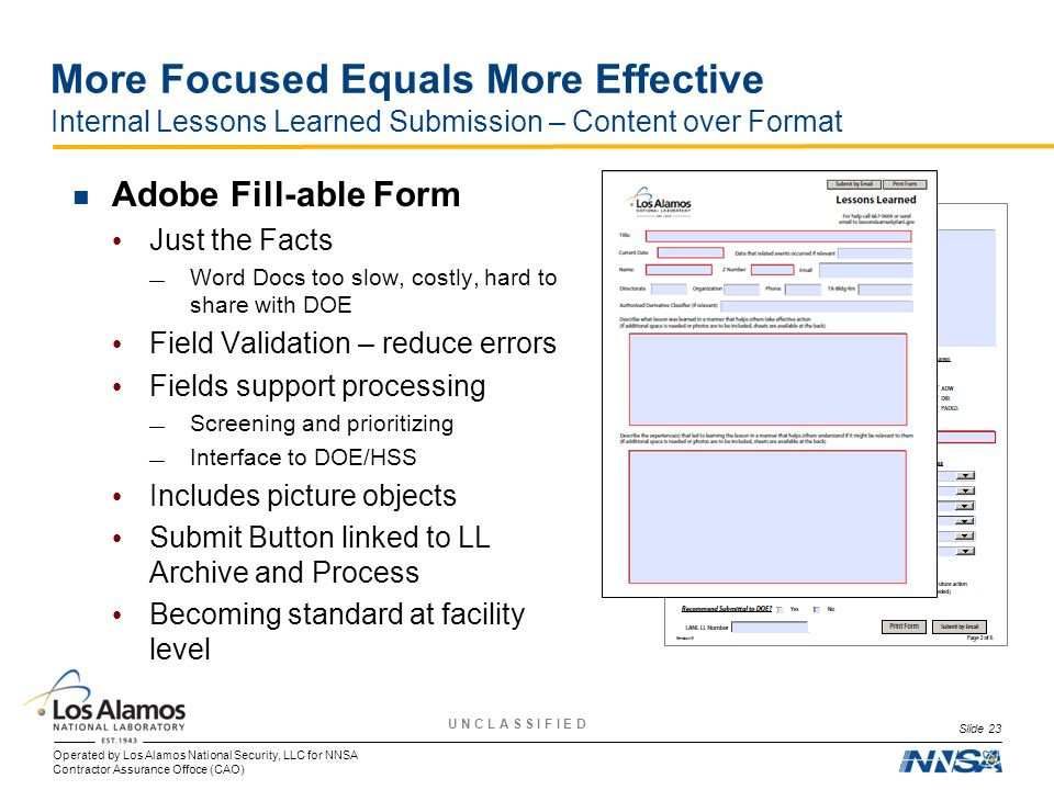 More Focused Equals More Effective Internal Lessons Learned Submission – Content over Format
