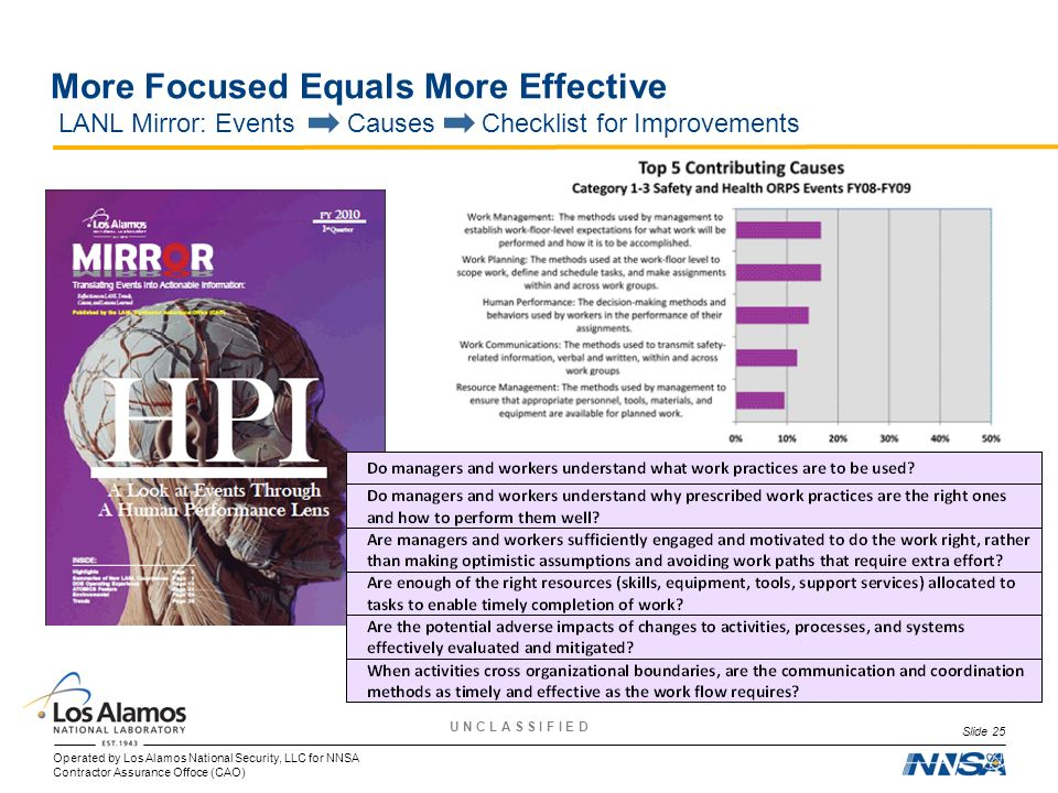 More Focused Equals More Effective LANL Mirror: Events Causes Checklist for Improvements