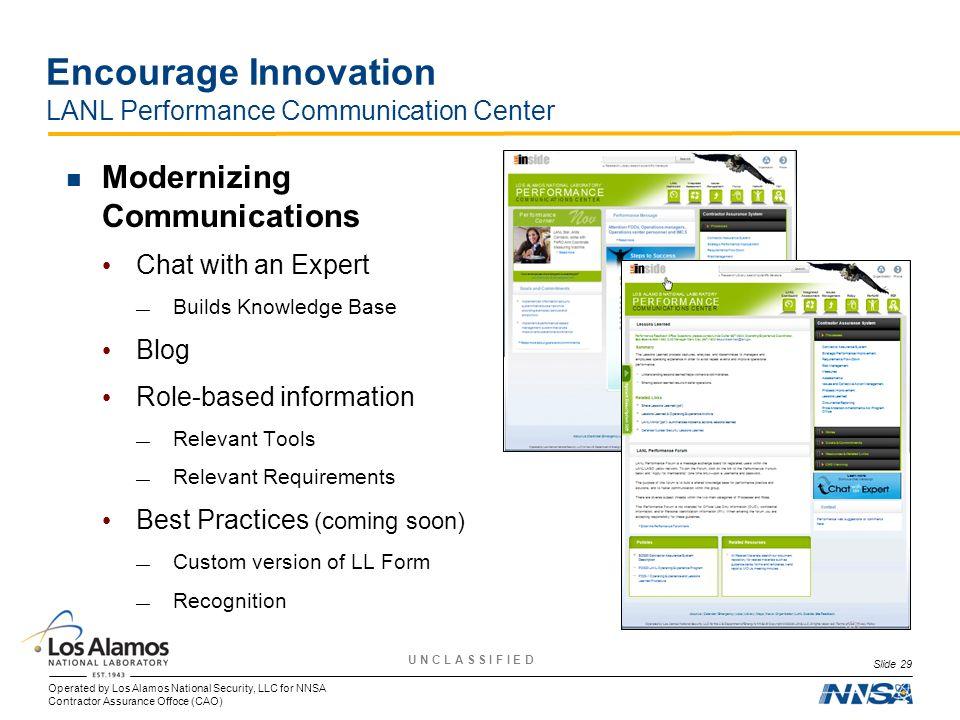 Encourage Innovation LANL Performance Communication Center